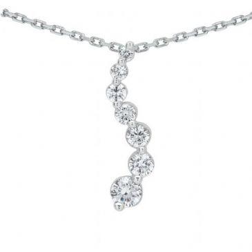 14k Gold Diamond Journey Pendant 7 Stone 1.45 ctw. JPD210914K