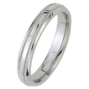 18k White Gold 4mm Dome Park Avenue Wedding Band Ring Medium Weight