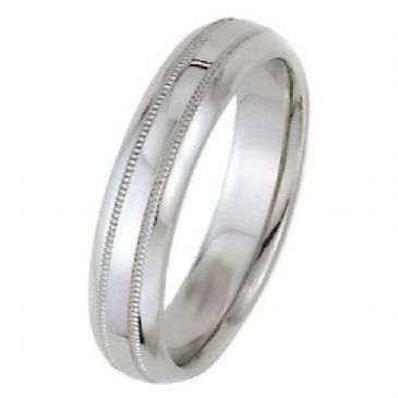 18k White Gold 5mm Dome Park Avenue Wedding Band Ring Heavy Weight