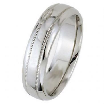 18k White Gold 7mm Dome Park Avenue Wedding Band Ring Medium Weight