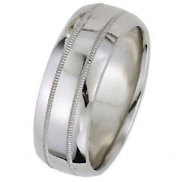 14k White Gold 8mm Dome Park Avenue Wedding Band Ring Heavy Weight