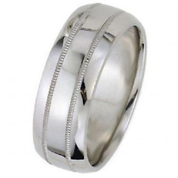 950 Platinum 8mm Dome Park Avenue Wedding Band Ring Medium Weight