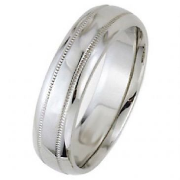 18k White Gold 6mm Dome Park Avenue Wedding Band Ring Medium Weight