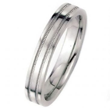 14k White Gold 4mm Flat Park Avenue Wedding Band Ring Medium Weight