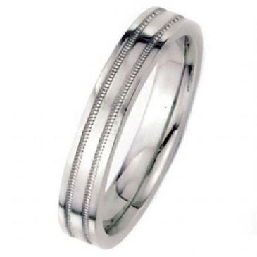 18k White Gold 4mm Flat Park Avenue Wedding Band Ring Medium Weight
