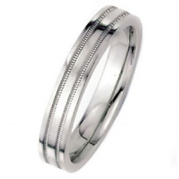 18k White Gold 5mm Flat Park Avenue Wedding Band Ring Heavy Weight