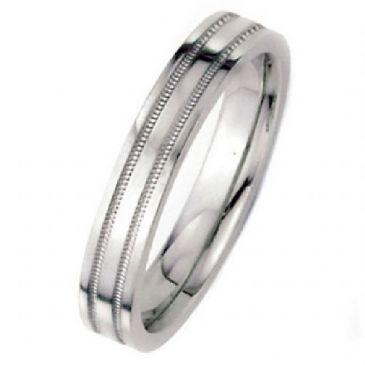 14k White Gold 5mm Flat Park Avenue Wedding Band Ring Medium Weight