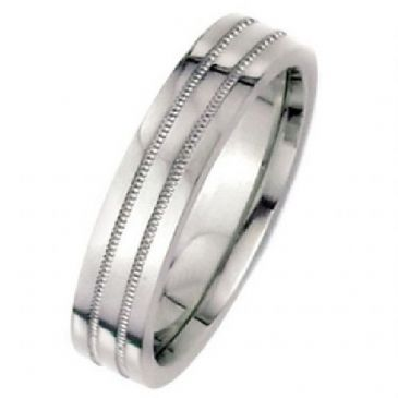 18k White Gold 6mm Flat Park Avenue Wedding Band Ring Medium Weight