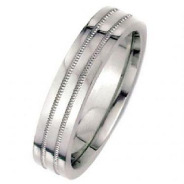 18k White Gold 6mm Flat Park Avenue Wedding Band Ring Medium Weight