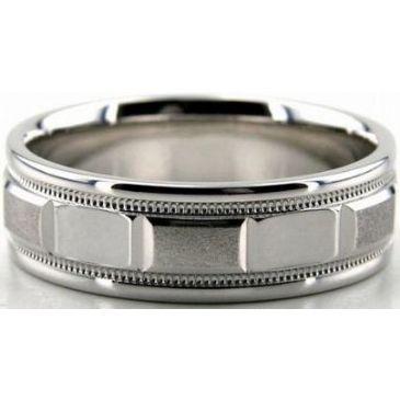 Platinum 950 6.5mm Diamond Cut Wedding Band 690