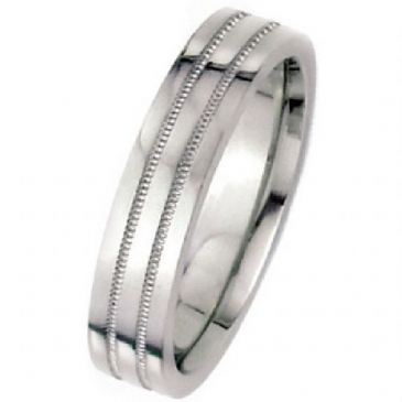 18k White Gold 7mm Flat Park Avenue Wedding Band Ring Medium Weight