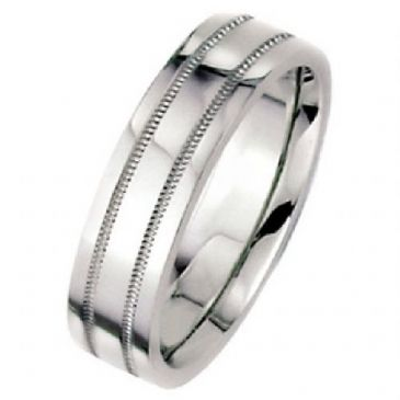 14k White Gold 8mm Flat Park Avenue Wedding Band Ring Heavy Weight