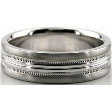 Platinum 950 6.5mm Diamond Cut Wedding Band 685