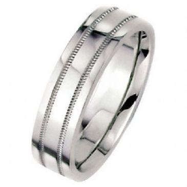18k White Gold 8mm Flat Park Avenue Wedding Band Ring Medium Weight