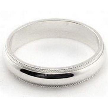 18k White Gold 4mm Comfort Fit Milgrain Wedding Band Super Heavy Weight