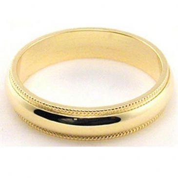 18k Yellow Gold 4mm Milgrain Wedding Band Medium Weight