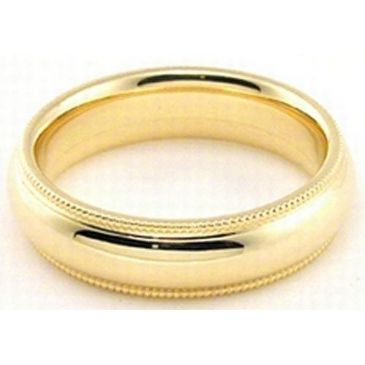 18k Yellow Gold 5mm Milgrain Comfort Fit Wedding Band Heavy Weight
