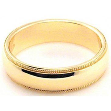 18k Yellow Gold 5mm Milgrain Wedding Band Medium Weight