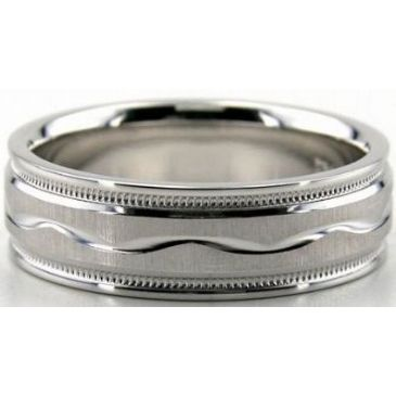 Platinum 950 6.5mm Diamond Cut Wedding Band 675