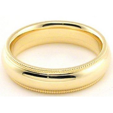 18k Yellow Gold 5mm Comfort Fit Milgrain Wedding Band Super Heavy Weight