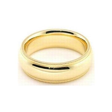 18k Yellow Gold 6mm Comfort Fit Milgrain Wedding Band Super Heavy Weight