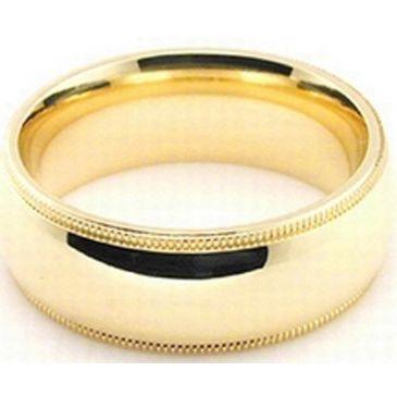 18k Yellow Gold 7mm Comfort Fit Milgrain Wedding Band Heavy Weight