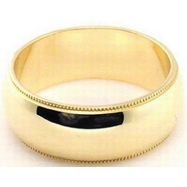 18k Yellow Gold 7mm Milgrain Wedding Band Medium Weight