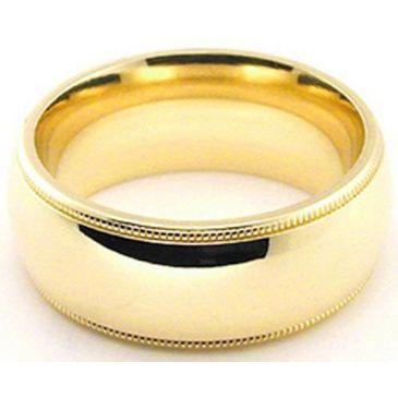 18k Yellow Gold 8mm Comfort Fit Milgrain Wedding Band Heavy Weight
