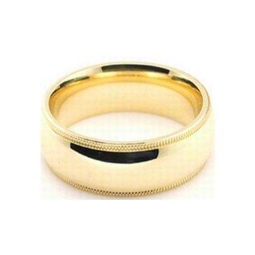 18k Yellow Gold 7mm Comfort Fit Milgrain Wedding Band Super Heavy Weight