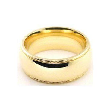 18k Yellow Gold 8mm Comfort Fit Milgrain Wedding Band Super Heavy Weight