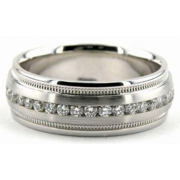 Platinum 950 7mm Diamond Wedding Bands Rings 0858
