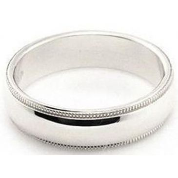 Platinum 950 5mm Comfort Fit Milgrain Wedding Band Super Heavy Weight
