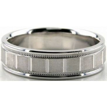 Platinum 950 6.5mm Diamond Cut Wedding Band 692
