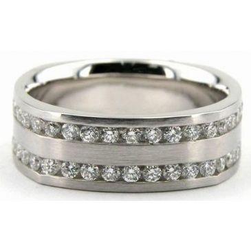 Platinum 950 7mm Diamond Wedding Bands Rings 0891
