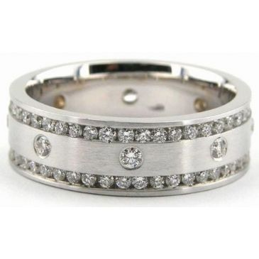 Platinum 950 7mm Diamond Wedding Bands Rings 0894