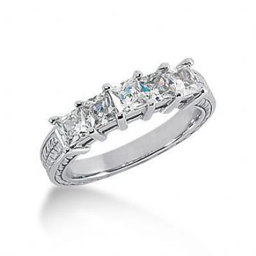 950 Platinum Diamond Anniversary Wedding Ring 5 Princess Cut Diamonds 1.40ctw 131WR188PLT