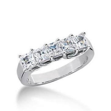 18K Gold Diamond Anniversary Wedding Ring 5 Princess Cut Diamonds 1.35ctw 134WR35718K