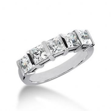 18K Gold Diamond Anniversary Wedding Ring 5 Princess Cut Diamonds 2.00ctw 135WR20118K