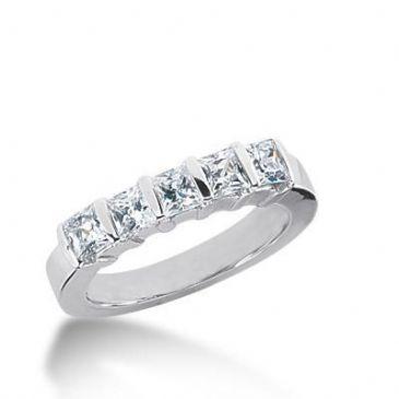 18K Gold Diamond Anniversary Wedding Ring 5 Princess Cut Diamonds 1.4ctw 137WR32318K