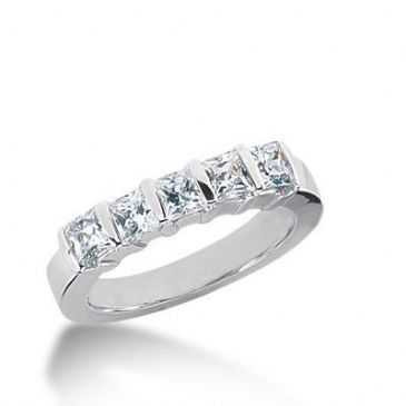 950 Platinum Diamond Anniversary Wedding Ring 5 Princess Cut Diamonds 1.4ctw 137WR323PLT