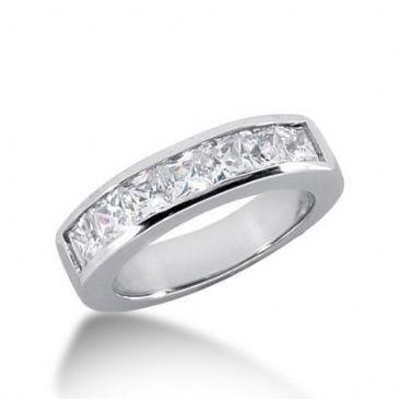18K Gold Diamond Anniversary Wedding Ring 7 Princess Cut Diamonds 1.40ctw 138WR22418K