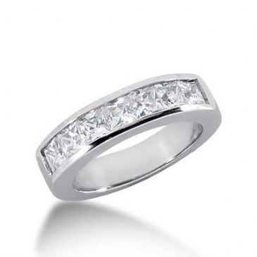 950 Platinum Diamond Anniversary Wedding Ring 7 Princess Cut Diamonds 1.40ctw 138WR224PLT