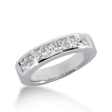 18K Gold Diamond Anniversary Wedding Ring 7 Princess Cut Diamonds 1.19ctw 139WR14118K