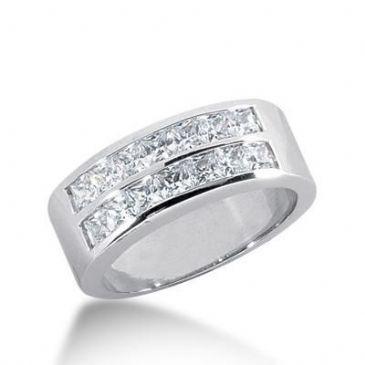 18K Gold Diamond Anniversary Wedding Ring 14 Princess Cut Diamonds 1.40ctw 140WR26018K