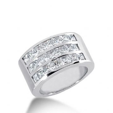 18K Gold Diamond Anniversary Wedding Ring 21 Princess Cut Diamonds 2.75ctw 141WR28618K