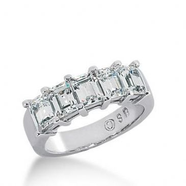 18K Gold Diamond Anniversary Wedding Ring 5 Emerald Cut Diamonds 3.25ctw 142WR19518K