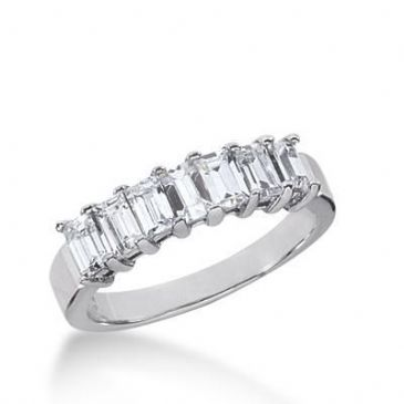 950 Platinum Diamond Anniversary Wedding Ring 7 Emerald Cut Diamonds 1.40ctw 143WR207PLT