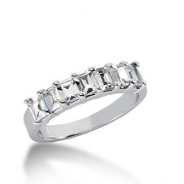 18K Gold Diamond Anniversary Wedding Ring 7 Emerald Cut Diamonds 1.40ctw 144WR173618K