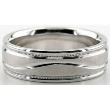 Platinum 950 6.5mm Diamond Cut Wedding Band 622