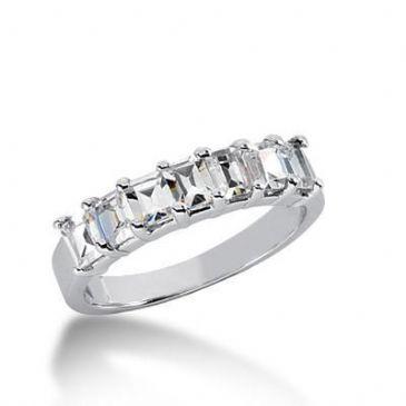 950 Platinum Gold Diamond Anniversary Wedding Ring 7 Emerald Cut Diamonds 1.40ctw 144WR1736PLT